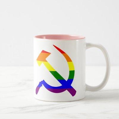 Gay Pride Rainbow Soviet Hammer And Sickle Two-Tone Coffee Mug