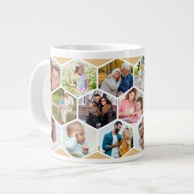 Geometric Photo Collage 17 Picture Giant Coffee Mug