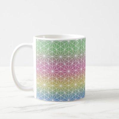 Geometric Stars and Hexagons Pastel Rainbow Coffee Mug