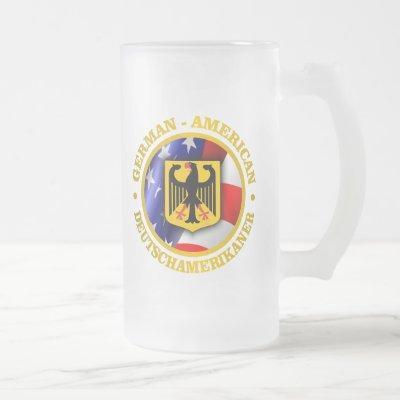 German-American Pride Frosted Glass Beer Mug