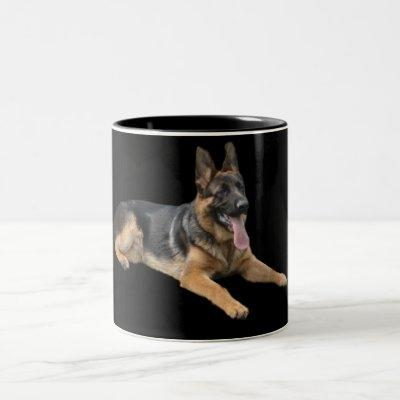 German Shepherd On Black Mug