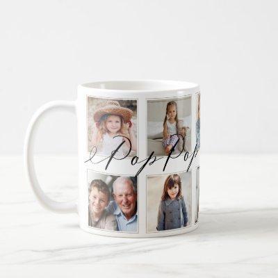 Gift for Pop Pop | Grandchildren Photo Collage Coffee Mug