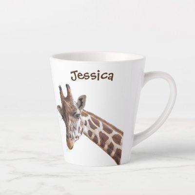 Giraffe Personalized Name Latte Mug