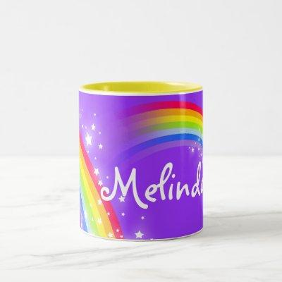 Girls rainbow custom name purple mug