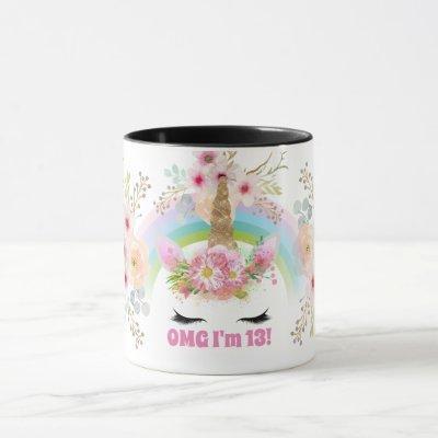 Girls UNICORN 13th Birthday Mug Customizable Pink
