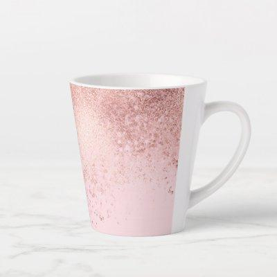 Girly Blush Pink Rose Gold Sprayed Confetti Ombre Latte Mug