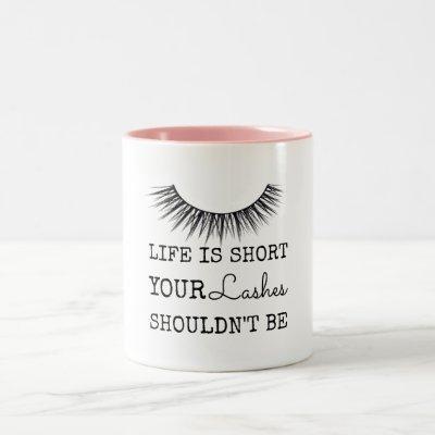 Girly Chic Eyelashes Design Two-Tone Coffee Mug