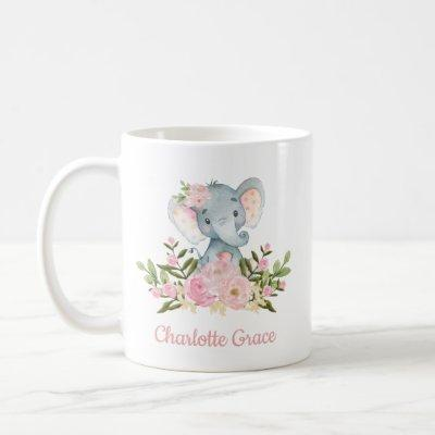 Girly Elephant Blush Pink Watercolor Floral Coffee Mug