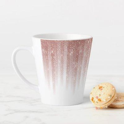 Girly Glamorous Rose Gold Glitter Striped Gradient Latte Mug