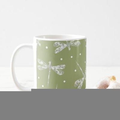 Girly olive green white dots and dragonflies coffee mug