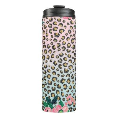 Girly Pink Mint Ombre Floral Glitter Leopard Print Thermal Tumbler