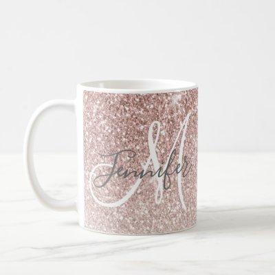 Girly Rose Gold Glitter Blush Monogram Name Coffee Mug