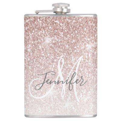Girly Rose Gold Glitter Monogram Bachelorette Flask