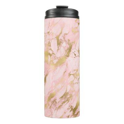 Girly Rose Gold Pink Marble Glitter Thermal Tumbler