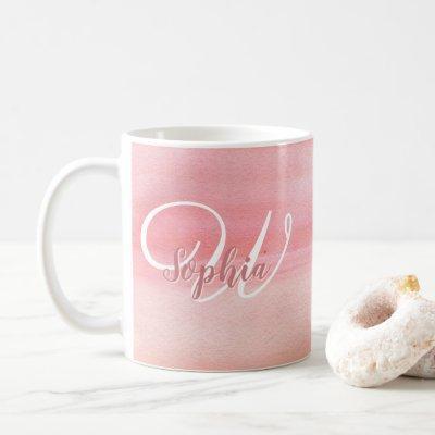 Girly Rose Gold Watercolor Blush Monogram Name Coffee Mug