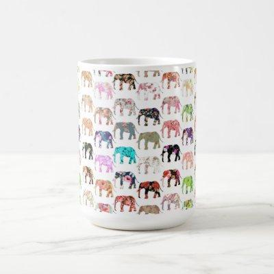 Girly Whimsical Retro Floral Elephants Pattern Coffee Mug