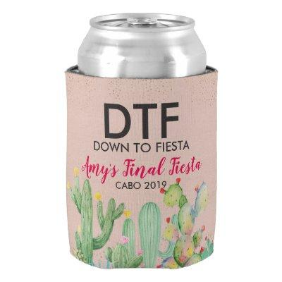 Glam Fiesta Personalized Bachelorette Can Coolers