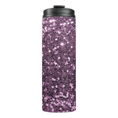 Glam Lavender Faux Glitter Purple Print Thermal Tumbler
