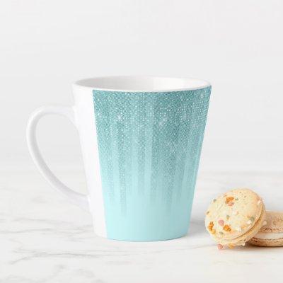 Glam Mint Green Aqua Glitter Striped Gradient Latte Mug