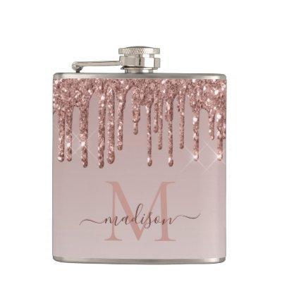 Glam Rose Gold Glitter Dripping Sparkle Monogram Flask