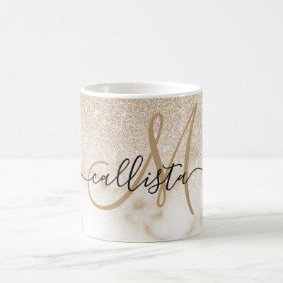 Glamorous Gold White Glitter Marble Gradient Ombre Coffee Mug