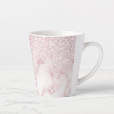 Glamorous Pink White Glitter Marble Gradient Ombre Latte Mug