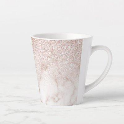 Glamorous Rose Gold White Glitter Marble Gradient Latte Mug
