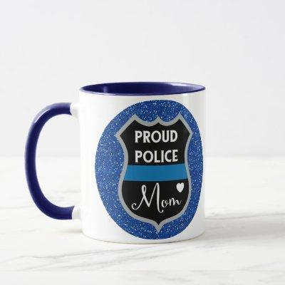 Glitter Blue Police Mom LEO Support Coffee Mug