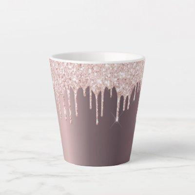 Glitter drip rose gold copper ombre girly latte mug