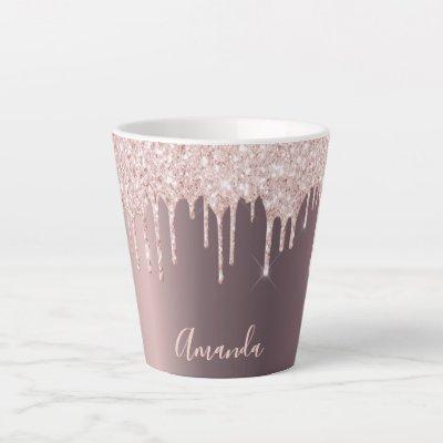 Glitter drip rose gold copper ombre girly name latte mug