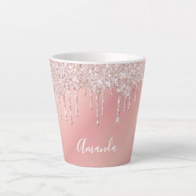 Glitter drip rose gold pink ombre girly name latte mug