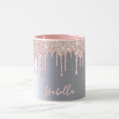 Glitter drip rose gold silver metallic girly name mug