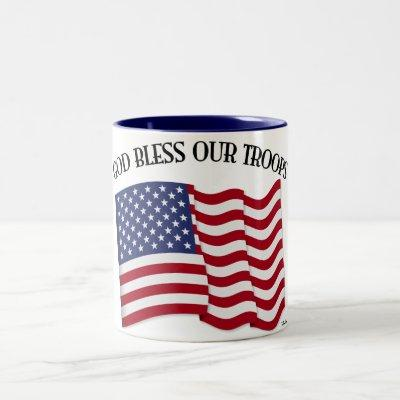 God Bless Our Troops with US flag Two-Tone Coffee Mug