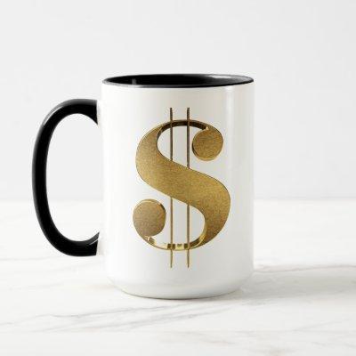Gold 3D Dollar Sign Mug