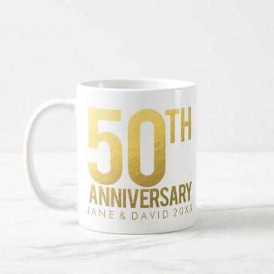 Gold 50th Anniversary Personalized White Mug