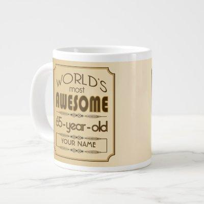 Gold 65th Birthday Celebration World Best Fabulous Large Coffee Mug