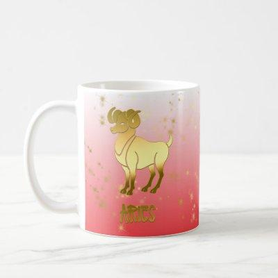 Gold Aries Ombre Astrology Horoscope Zodiac Sign Coffee Mug