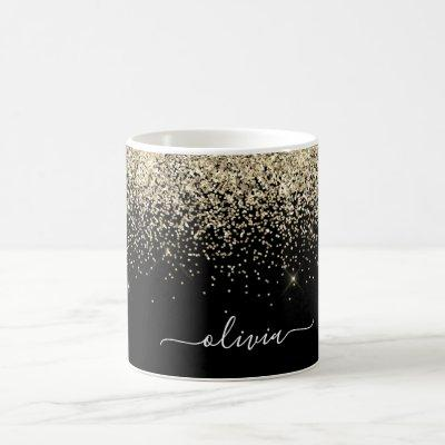 Gold Black Girly Glitter Sparkle Monogram Name Coffee Mug