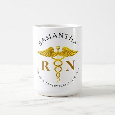 Gold Caduceus Registered Nurse Name Coffee Mug