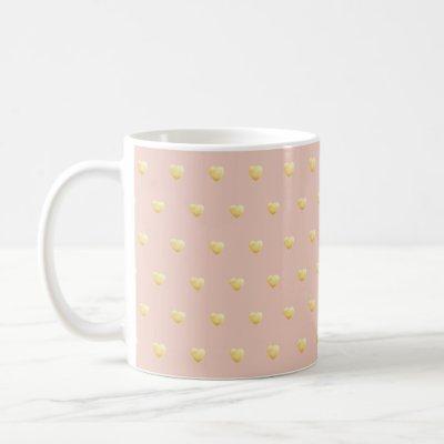 Gold Faux Foil Hearts on Blush Rose Pink Coffee Mug