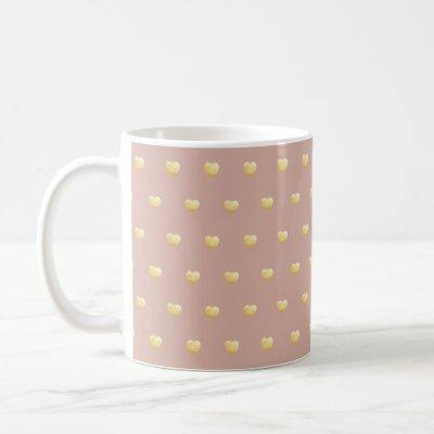Gold Faux Foil Hearts on Deep Blush Pink Coffee Mug
