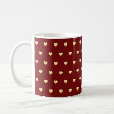 Gold Faux Foil Hearts on Marsala Burgundy Coffee Mug