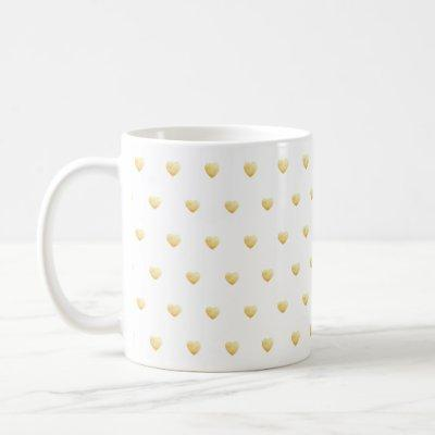 Gold Faux Foil Hearts on White Coffee Mug