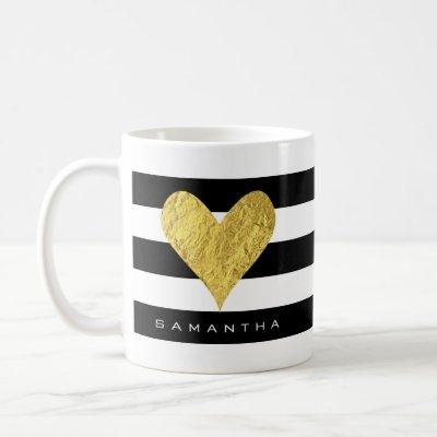 Gold Foil Heart Coffee Mug