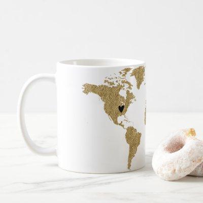 Gold Foil World Map Custom Moveable Heart Location Coffee Mug