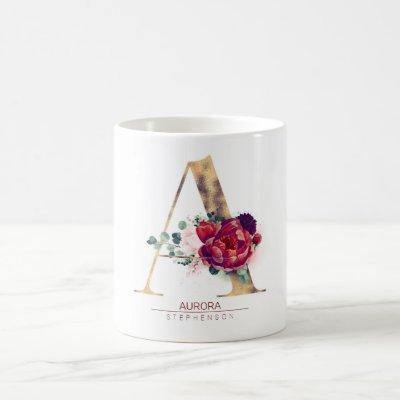 Gold Glitter A Monogram Floral Burgundy Red Coffee Mug