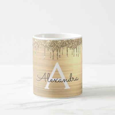 Gold Glitter Brushed Metal Monogram Name Coffee Mug