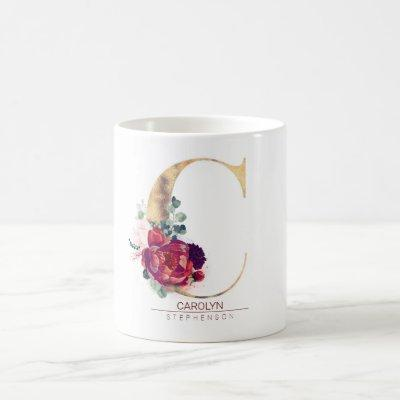 Gold Glitter C Monogram Floral Burgundy Red Coffee Mug