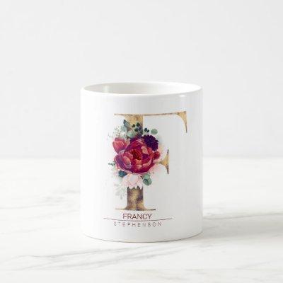 Gold Glitter F Monogram Floral Burgundy Red Coffee Mug