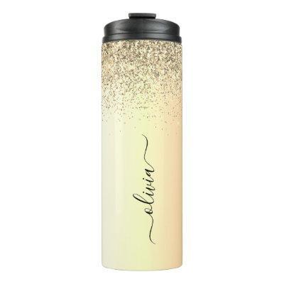 Gold Glitter Girly Luxury Modern Monogram Name Thermal Tumbler